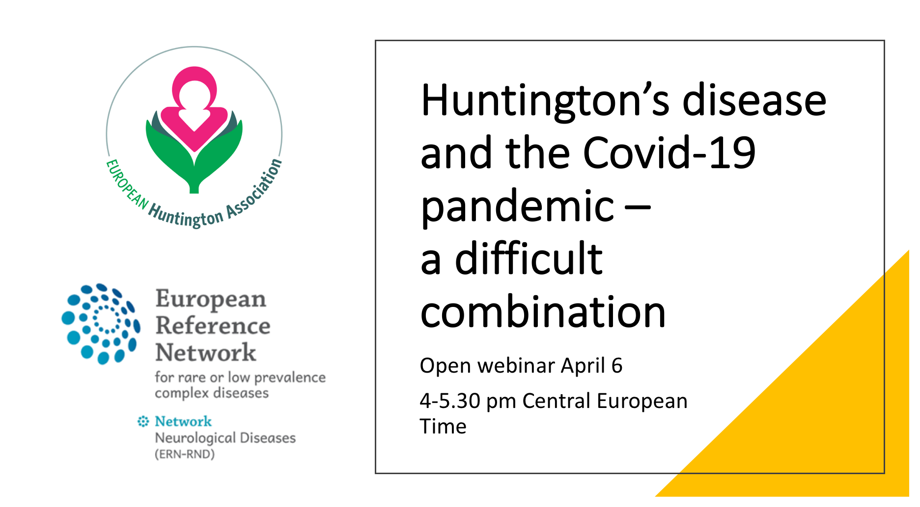 6 April Kl 16:00 – Webinar – Huntington's Disease And The Covid-19 Pandemic A Difficult Combination